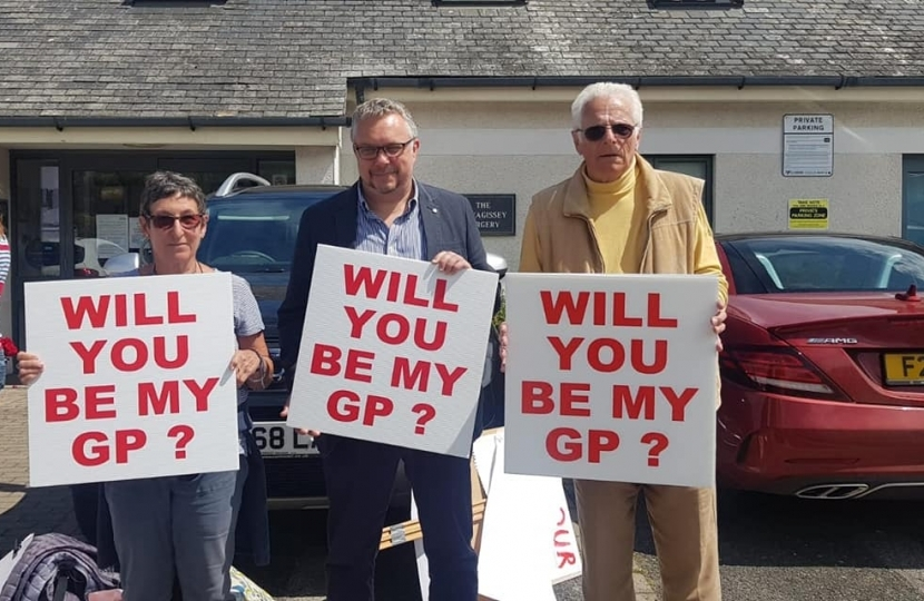 Steve Double MP with campaigners at Mevagissey surgery