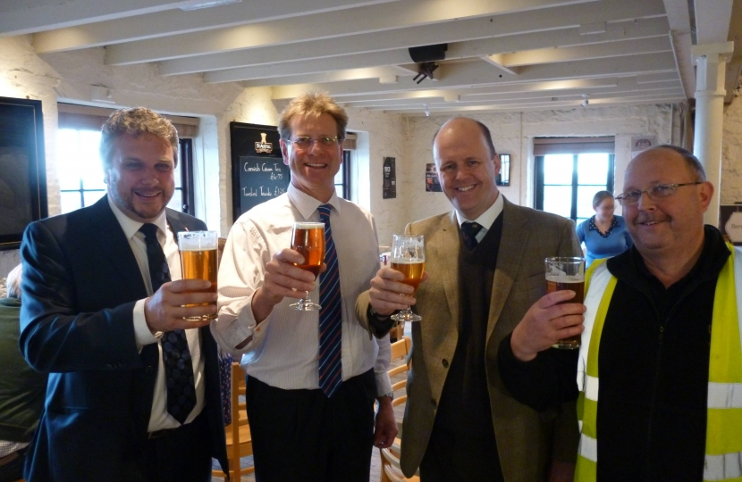 Steve w/ St Austell Brewery MD James Staughton, Ashley Fox and Barry the brewer