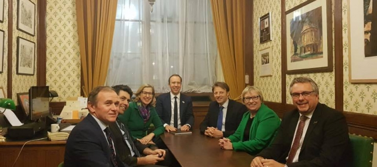 Steve with the other Cornish MPs meeting with the Secretary of State for Health to secure a new hospital for Cornwall